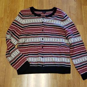 Talbots XL lambswool blend striped cardigan
